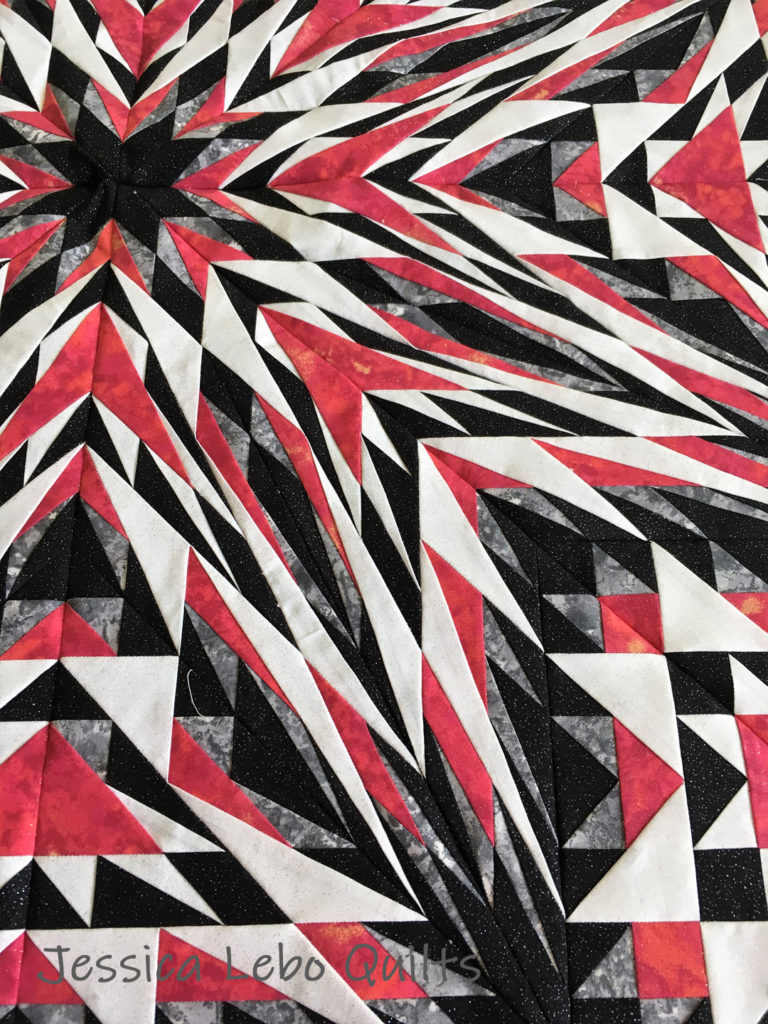 advanced foundation paper piecing quilt pattern kaleidoscope star black red white quilt
