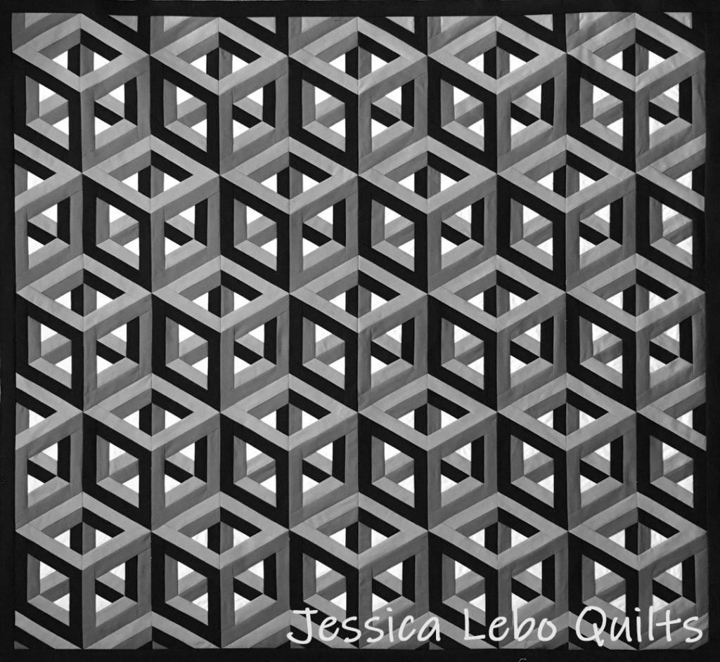 3d cubes quilt art foundation paper piecing pattern black and white quilt