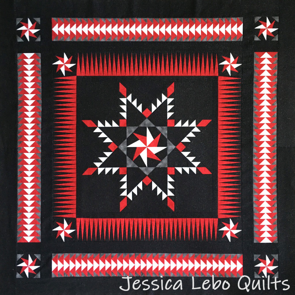 black red quilt feathered star flying geese foundation paper piecing pattern