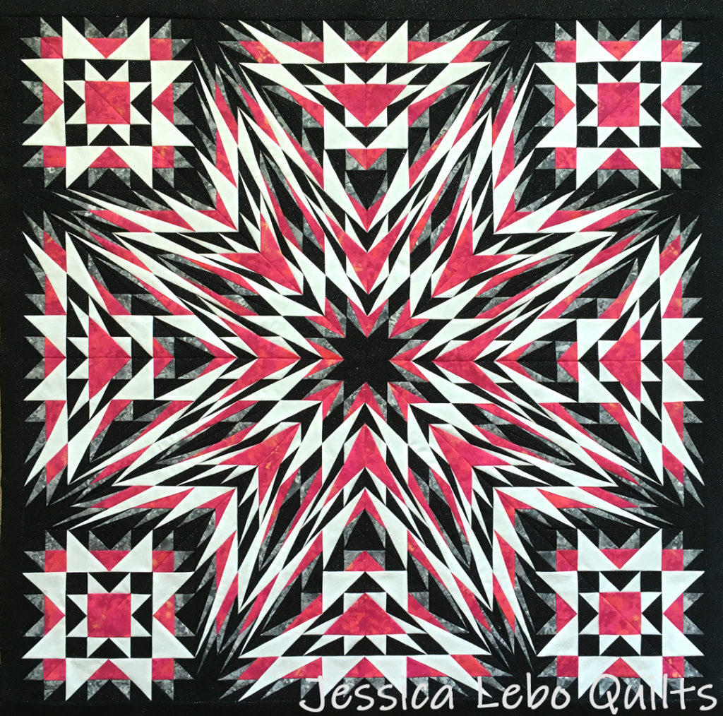red white black quilt advanced foundation paper piecing pattern kaleidoscope star