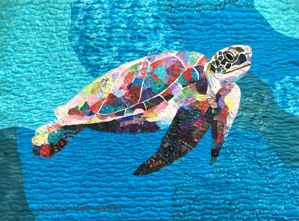 wildlife fabric collage quilt seaturtle fiber art