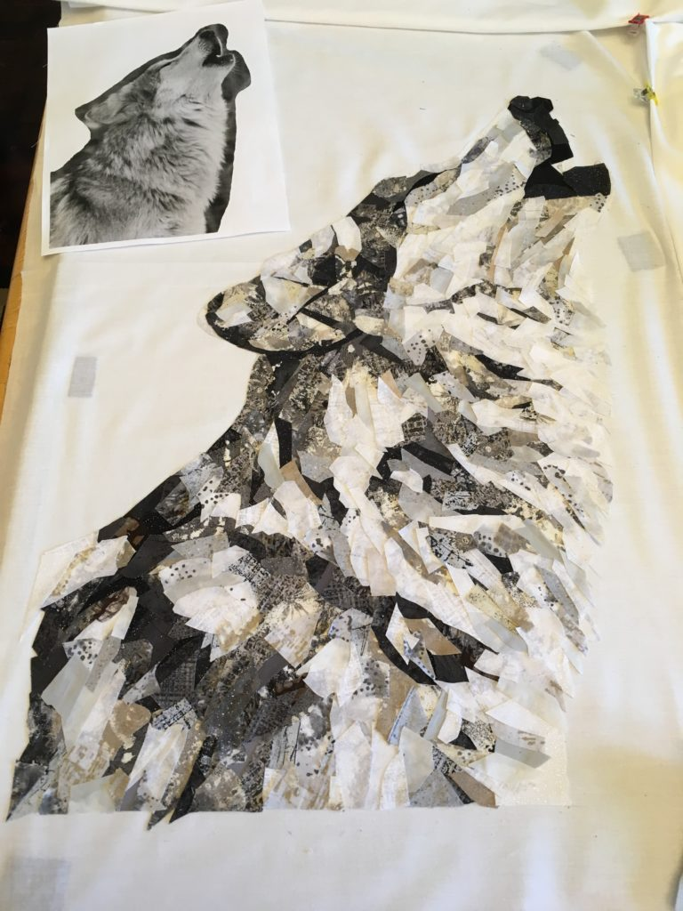 wolf fabric collage art quilt
