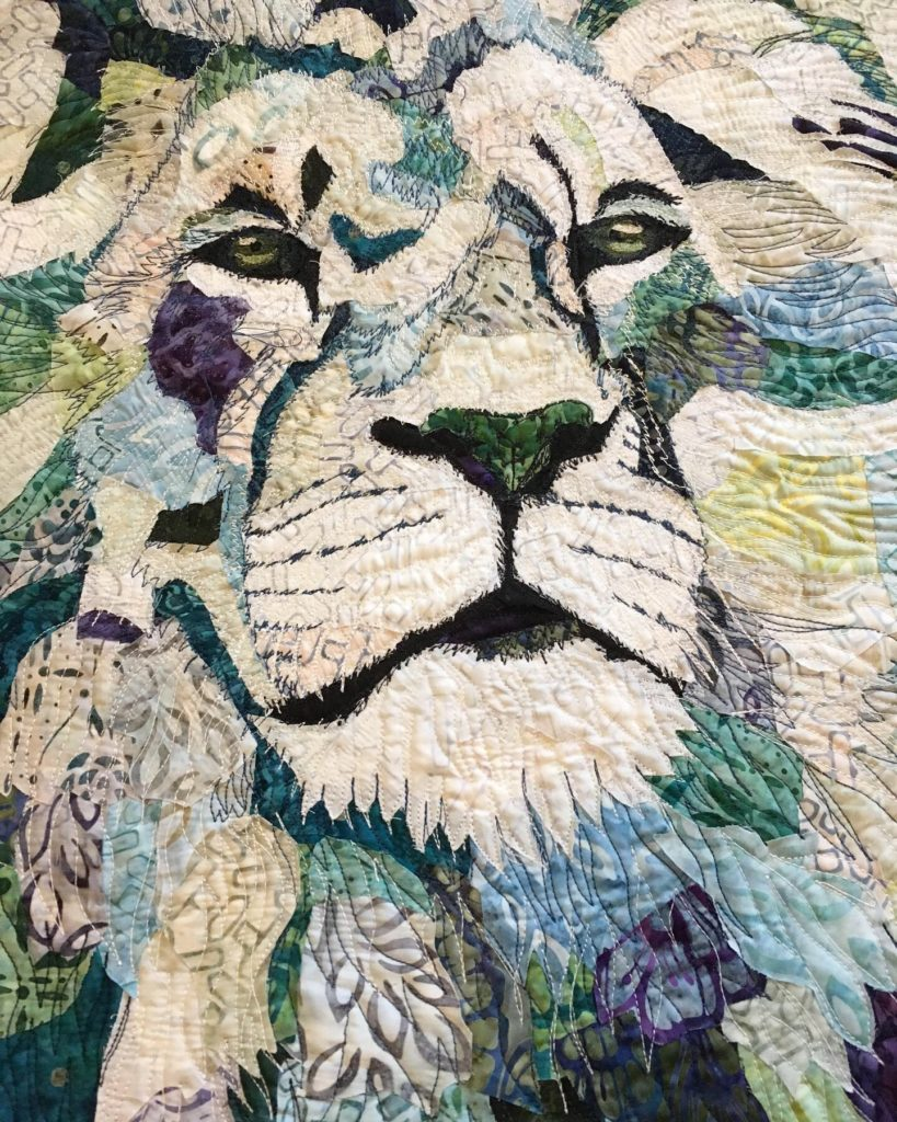 fabric collage lion thread painting