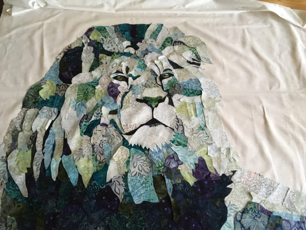 fabric collage lion quilt
