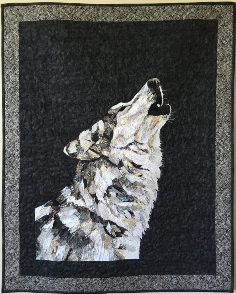 fabric collage thread painting wolf quilt