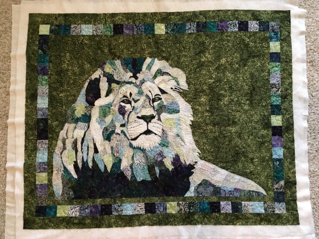 fabric collage quilt lion