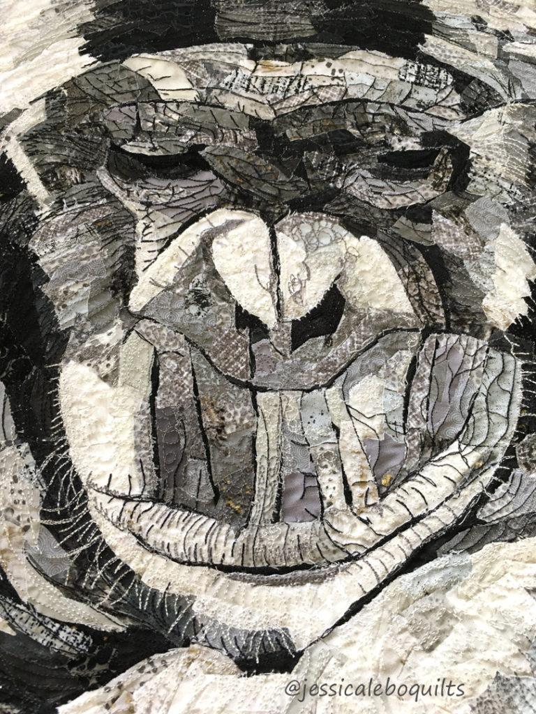 thread paiting animal quilt fabric collage