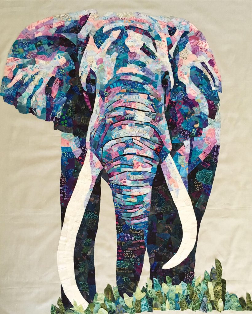 collage quilt fabric elephant