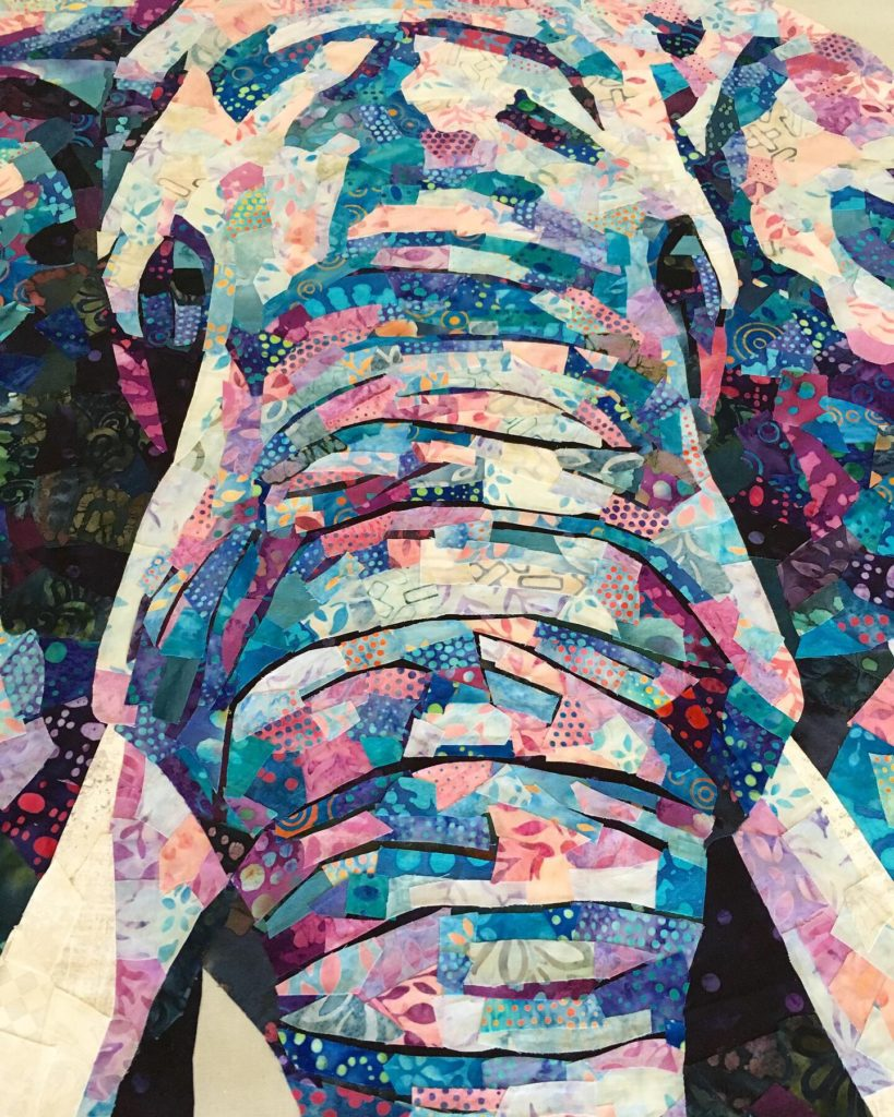 fabric collage elephant quilt