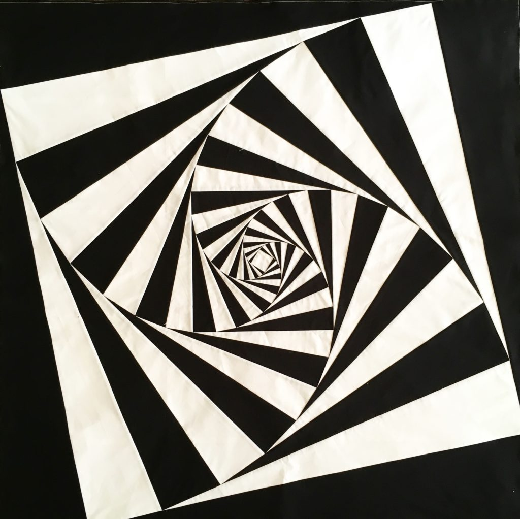 twist black and white 3d foundation pieced quilt